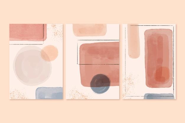 Satz abstrakte aquarellformenabdeckungen