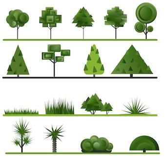 Satz abstrakte bäume, sträucher, gras auf weißem hintergrund. vektor-illustration.