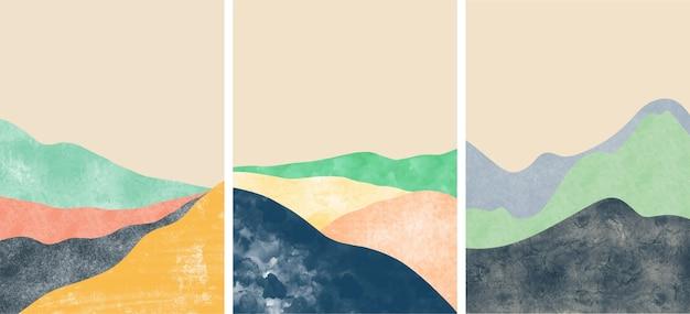 Satz abstrakte berglandschaftsabdeckungen
