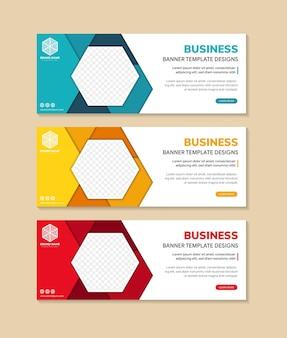 Satz abstrakte blaue, gelbe und rote horizontale banner mit geometrischen formen