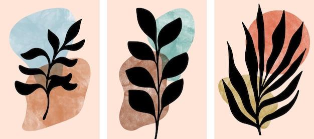 Satz abstrakte botanische wandkunst, blätter, boho-zweig.