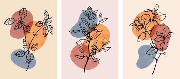 Satz abstrakte botanische wandkunst mit abstrakten blättern.