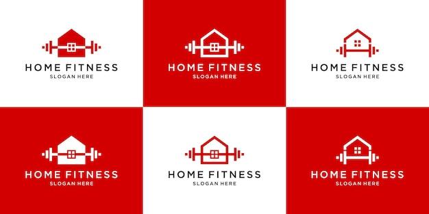Satz abstrakte fitness-home-logo-vorlage
