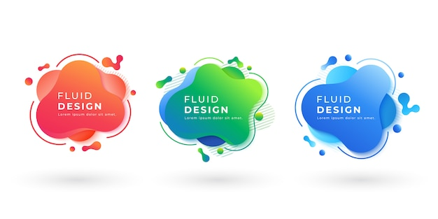 Satz abstrakte flüssige farbzusammenfassungs-geometrische formen. flüssige farbverlaufselemente für minimale banner