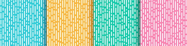 Satz abstrakte gelbe rosa grüne grüne minze und hellblaue vertikale abgerundete linienübergang.