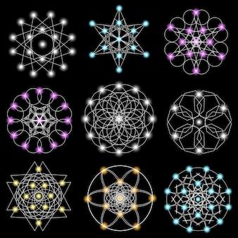 Satz abstrakte geometrische elemente und formen auf schwarzem hintergrund.