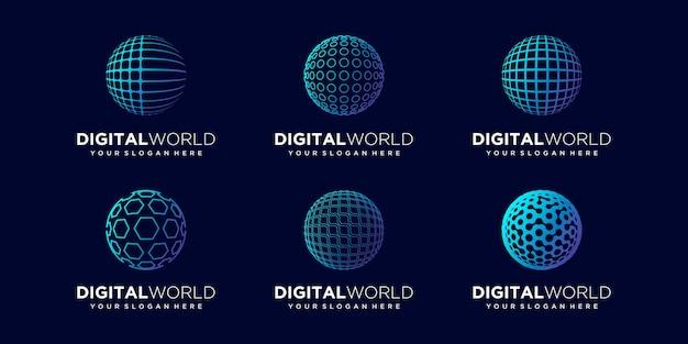 Satz abstrakte globale logo-design-vektor-vorlage.