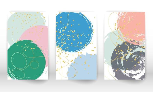 Satz abstrakte handgezeichnete geometrische formen. doodle-linien, goldene partikel.