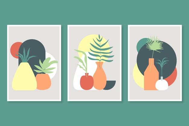 Satz abstrakte handgezeichnete kompositionsabdeckungen mit dekorativen pflanzen