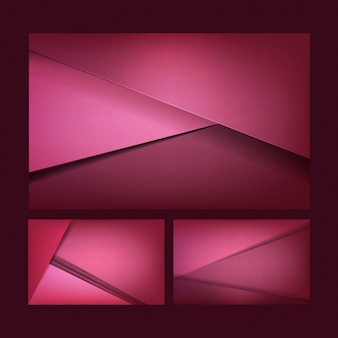 Satz abstrakte hintergrunddesigne in dunklem rosa