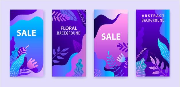 Satz abstrakte instagram-geschichte für soziale medien mit hellem lebendigem hintergrund des floralen lila farbverlaufs, verkaufsfahne