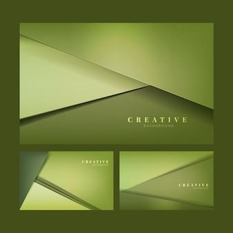 Satz abstrakte kreative hintergrunddesigne im limettengrün