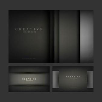 Satz abstrakte kreative hintergrunddesigne im schwarzen