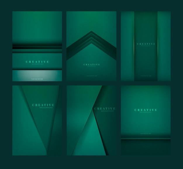 Satz abstrakte kreative hintergrunddesigne im smaragdgrün