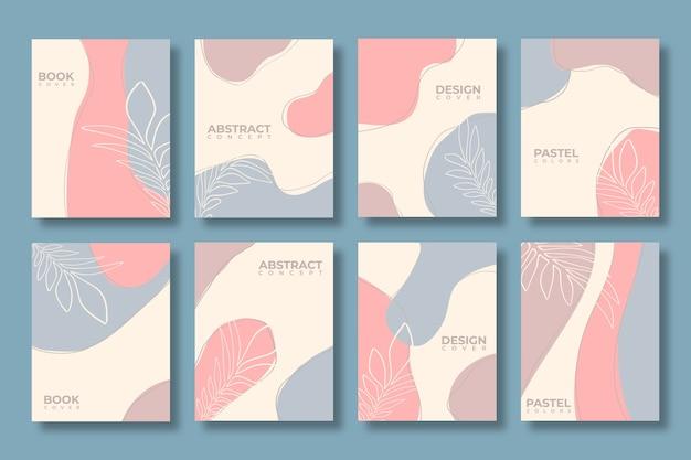 Satz abstrakte kreative universelle abdeckungsschablone in den pastellfarben