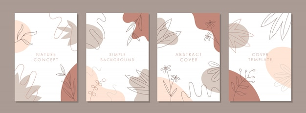 Satz abstrakte kreative universelle cover-design-vorlagen mit naturkonzept