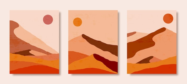 Satz abstrakte landschaft von bergen und sonne in einem minimalen trendigen stil. vektorhintergrund in braunen und orangefarbenen farben für cover, poster, postkarten, social media-geschichten. boho-kunstdrucke.