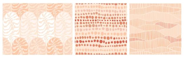Satz abstrakte minimalistische nahtlose haferflocken im boho-stil mit handgezeichneten punkten und blättern