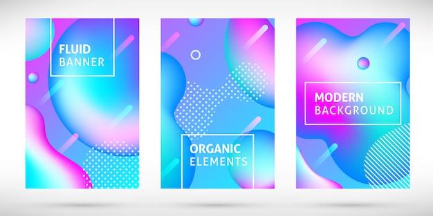 Satz abstrakte moderne farbverlaufsneonflüssigkeitsfahnen. dynamisches holographisches chamäleonelementdesign mit text. schillernde formen für präsentation, cover, flyer, web. illustration
