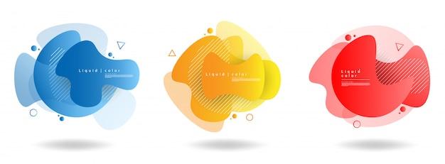 Satz abstrakte moderne grafische elemente. dynamische farbige formen und wellen. abstrakte fahnen der steigung mit flüssigen flüssigen formen.