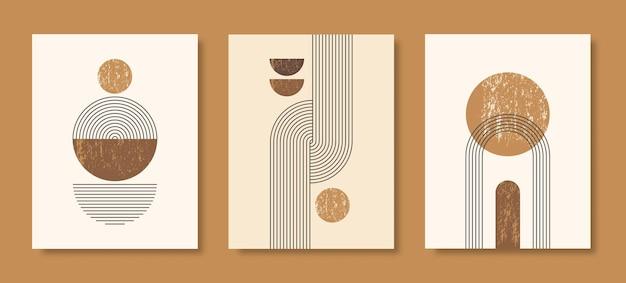 Satz abstrakte moderne kunsthintergründe mit einfachen geometrischen formen von linien und kreisen. boho vector illustration im minimalistischen stil und pastellfarben für poster, t-shirt-druck, cover, banner