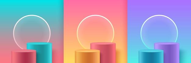 Satz abstrakte pastellfarbenbühne für auszeichnungen in der moderne.