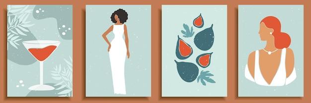 Satz abstrakte weibliche formen und silhouetten. abstrakte frauenporträts in brautkleidern in pastellfarben.