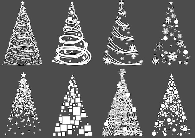 Satz abstrakte weihnachtsbäume auf grauem hintergrund isoliert