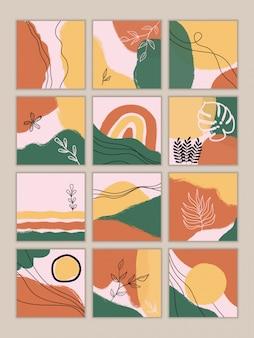 Satz abstrakte weinlesehintergründe. handgezeichnetes gekritzel verschiedener formen, blätter, flecken, tropfen. zeitgenössische moderne trendige illustrationen.