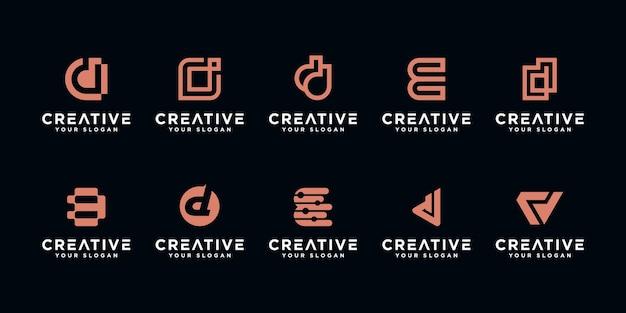 Satz abstrakter anfangsbuchstabe d, logo-vorlage. ikonen für luxusgeschäfte, elegant, einfach.