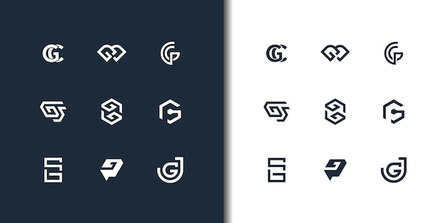 Satz abstrakter anfangsbuchstabe g logo designvorlage. ikonen für luxusgeschäfte