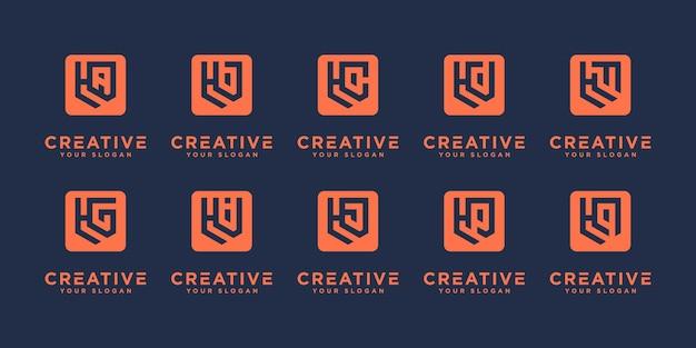 Satz abstrakter anfangsbuchstabe h und usw. logo-designschablone. ikonen für das geschäft mit luxus