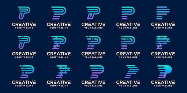 Satz abstrakter anfangsbuchstabe p logo-vorlage. ikonen für das geschäft von mode, digital, technologie,