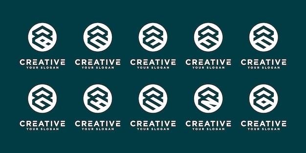 Satz abstrakter anfangsbuchstabe r und usw. logo-designschablone. ikonen für das geschäft mit luxus