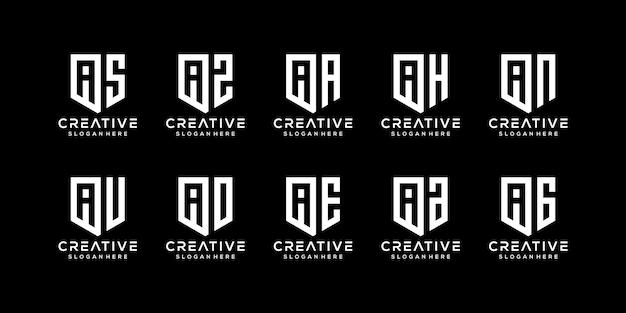 Satz abstrakter anfangsbuchstaben eine logo-vorlage
