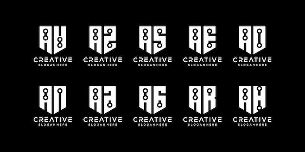Satz abstrakter anfangsbuchstaben eine technologie-logo-vorlage