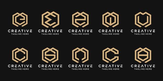 Satz abstrakter anfangsbuchstaben m, e, c, s, logo-vorlage. ikonen für modegeschäft, beratung, bauen, einfach. Premium Vektoren