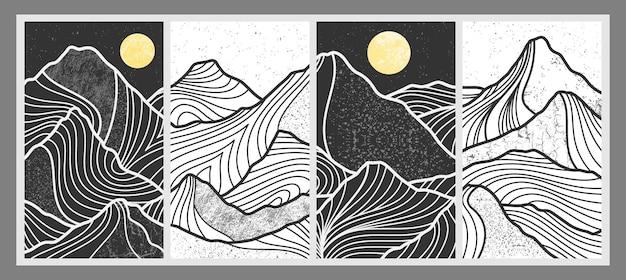 Satz abstrakter bergmalerei. abstrakte kunst hintergrund. premium-vektoren