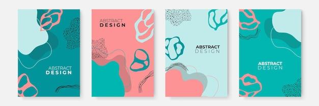 Satz abstrakter blattblumenboho kreative universelle künstlerische vorlagen. abstrakte trendige kunstkarte. gut für poster, karten, einladungen, flyer, cover, banner, plakate, broschüren und andere grafikdesigns