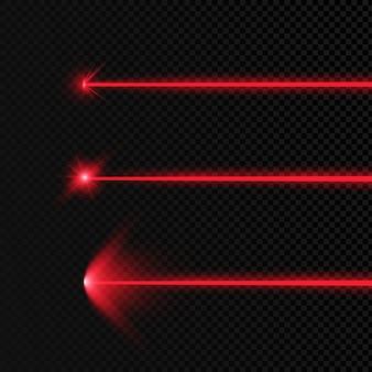 Satz abstrakter farben laserstrahl. transparent ist auf einem schwarzen hintergrund isoliert.