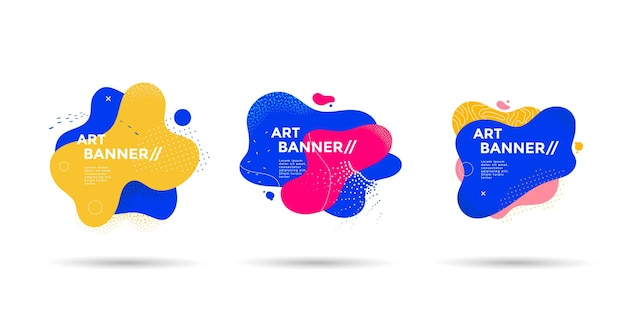 Satz abstrakter flüssiger form fluid-banner-design mit punktlinien eine isolierte dynamische kunstform