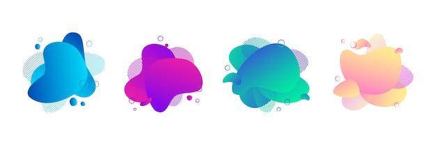 Satz abstrakter flüssiger form mit pastellgelbem und rosafarbenem, blauem farbverlauf für flyer, präsentation, visitenkartenvorlage. moderne flüssige elemente lila, grüne farben. stellen sie organische formenvektorfahnen ein.