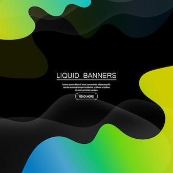 Satz abstrakter geometrischer fahnen mit flüssigen formen. hintergrunddesign mit farbverlauf. kontrastierende farben des hintergrunds für poster. vektor-illustration