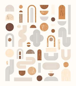 Satz abstrakter geometrischer formen mit linie und streifen. vektorelemente für webdesign, banner, poster, cover und social media post. sammlung zeitgenössischer minimalistischer illustrationen in neutralen farben.