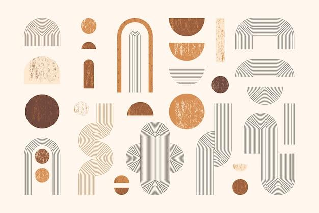 Satz abstrakter geometrischer formen mit linie und streifen. vektorsammlung zeitgenössische minimalistische illustrationen.