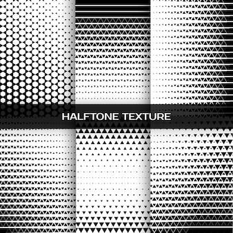 Satz abstrakter geometrischer schwarzweiss-grafikdruck-halbton-dreiecksmuster. illustration