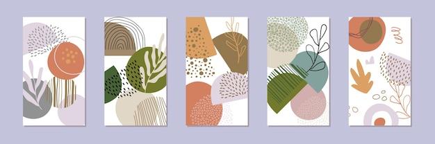 Satz abstrakter geschichtenhintergründe. hand gezeichnetes natürliches muster im trendigen stil.