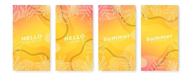 Satz abstrakter hintergründe mit tropischen blättern und pflanzen in minimaler einfachheit