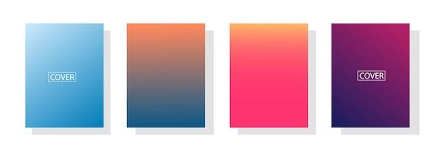 Satz abstrakter hintergrund mit schöner abstufungsfarbe, bunter hintergrund für plakatfliegerfahne background.vertikales banner.coole flüssige hintergrundvektorillustration Premium Vektoren