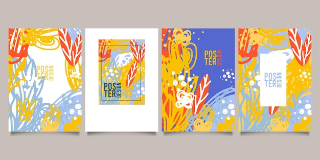 Satz abstrakter kreativer universeller künstlerischer vorlagen. gut für poster, karten, einladungen, flyer, cover, banner, plakate, broschüren und anderes grafikdesign.